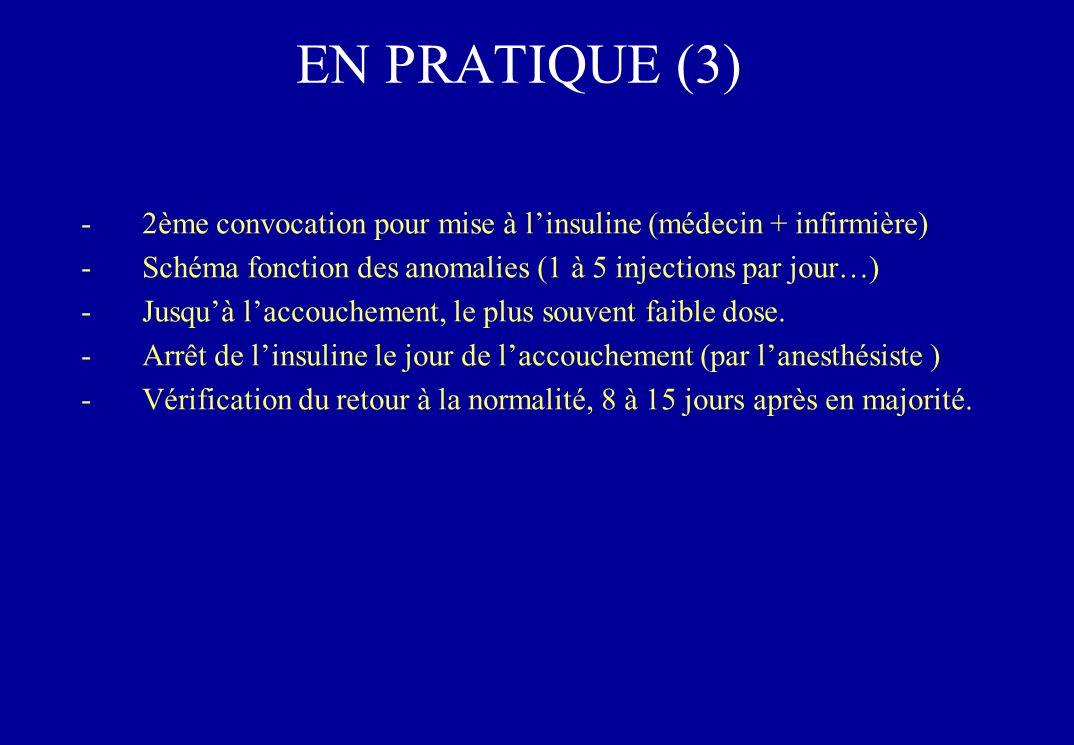 EN PRATIQUE (3) 2ème convocation pour mise à l'insuline (médecin + infirmière) Schéma fonction des anomalies (1 à 5 injections par jour…)