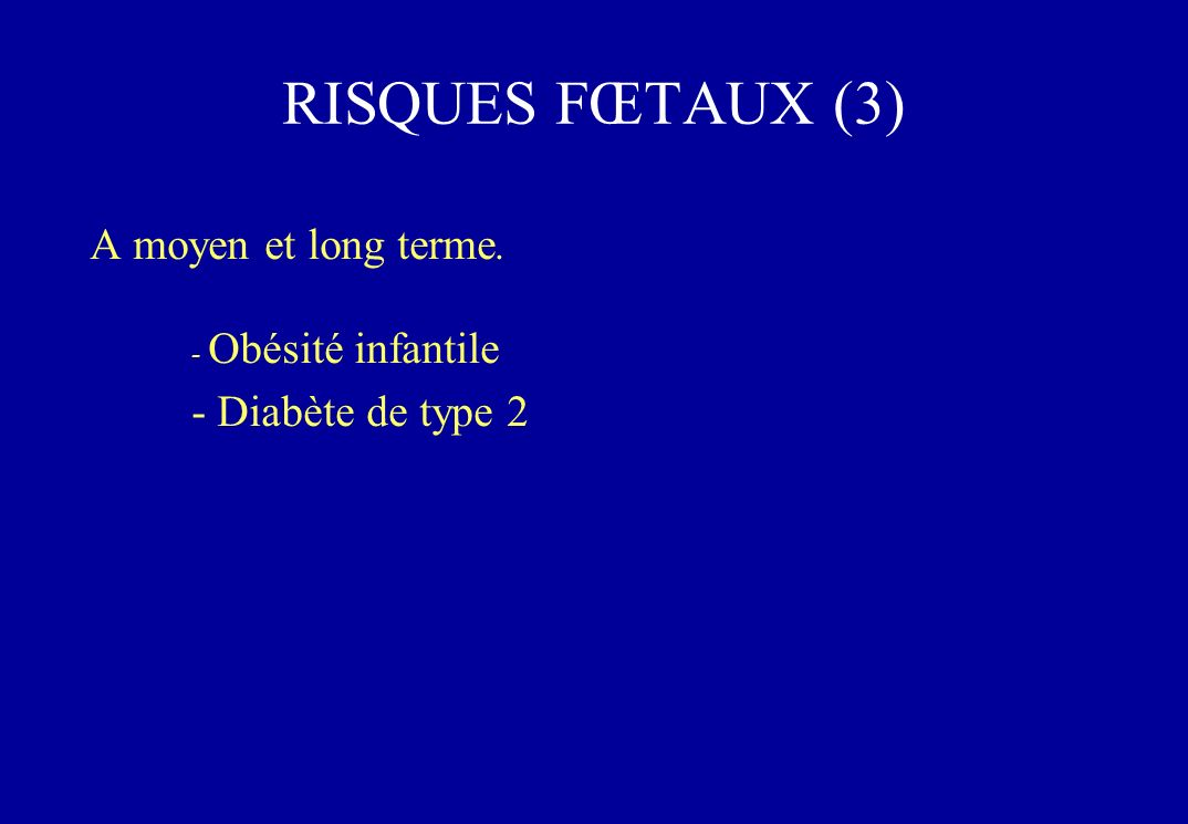 A moyen et long terme. - Obésité infantile - Diabète de type 2