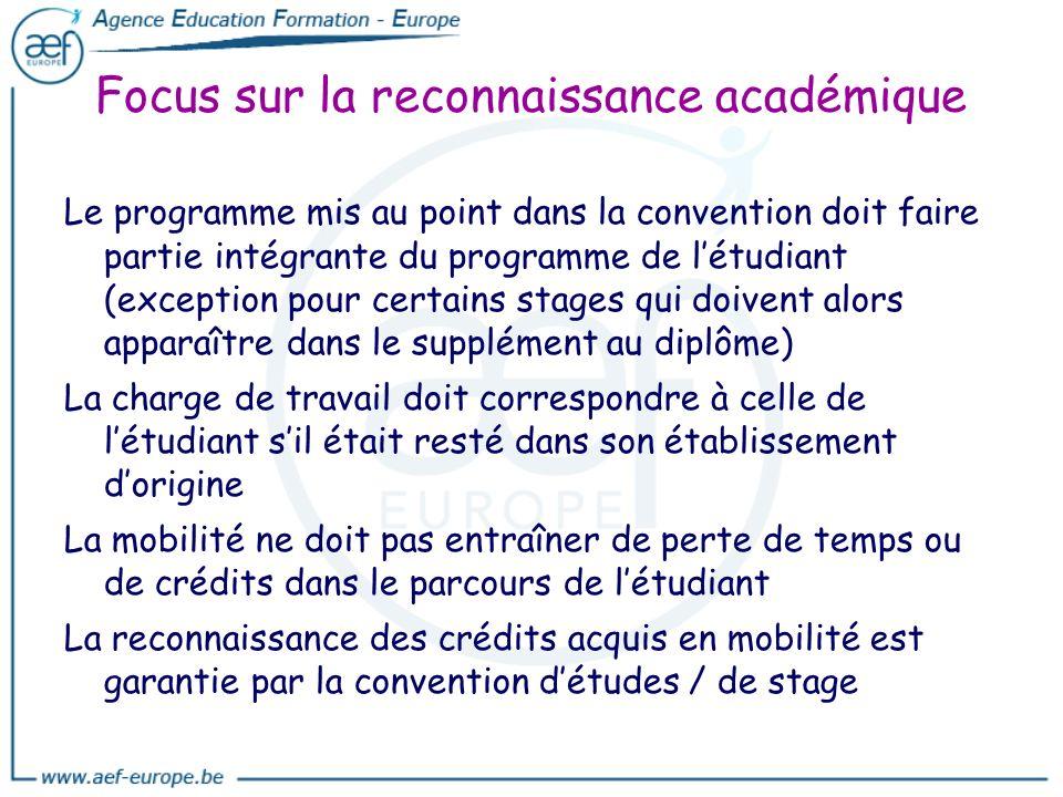 Focus sur la reconnaissance académique