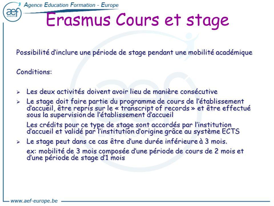 Erasmus Cours et stage Possibilité d'inclure une période de stage pendant une mobilité académique. Conditions: