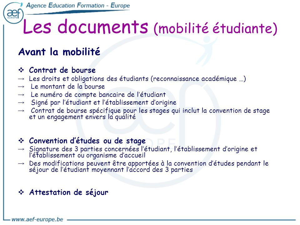 Les documents (mobilité étudiante)