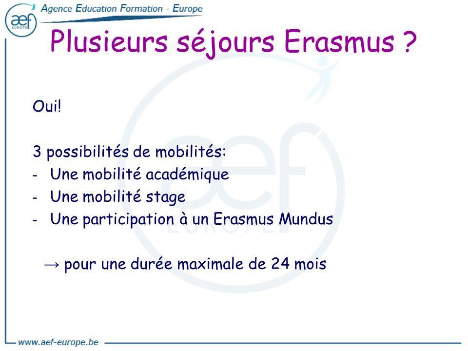 Plusieurs séjours Erasmus