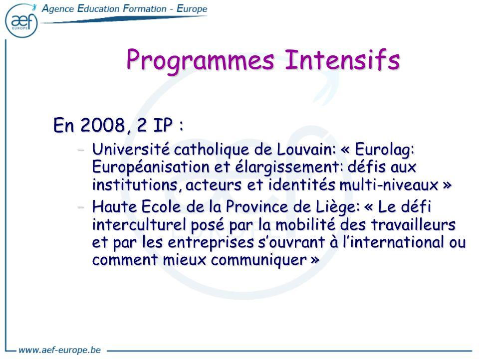 Programmes Intensifs En 2008, 2 IP :