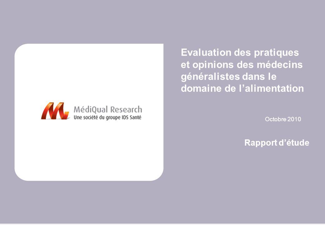 Evaluation des pratiques et opinions des médecins généralistes dans le domaine de l'alimentation