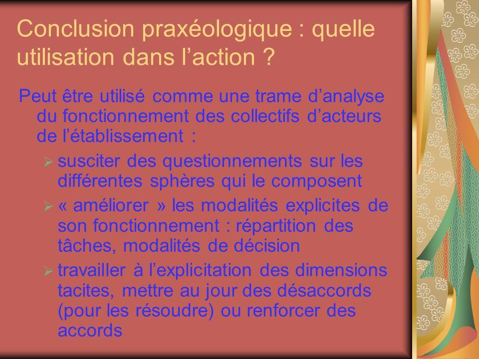 Conclusion praxéologique : quelle utilisation dans l'action