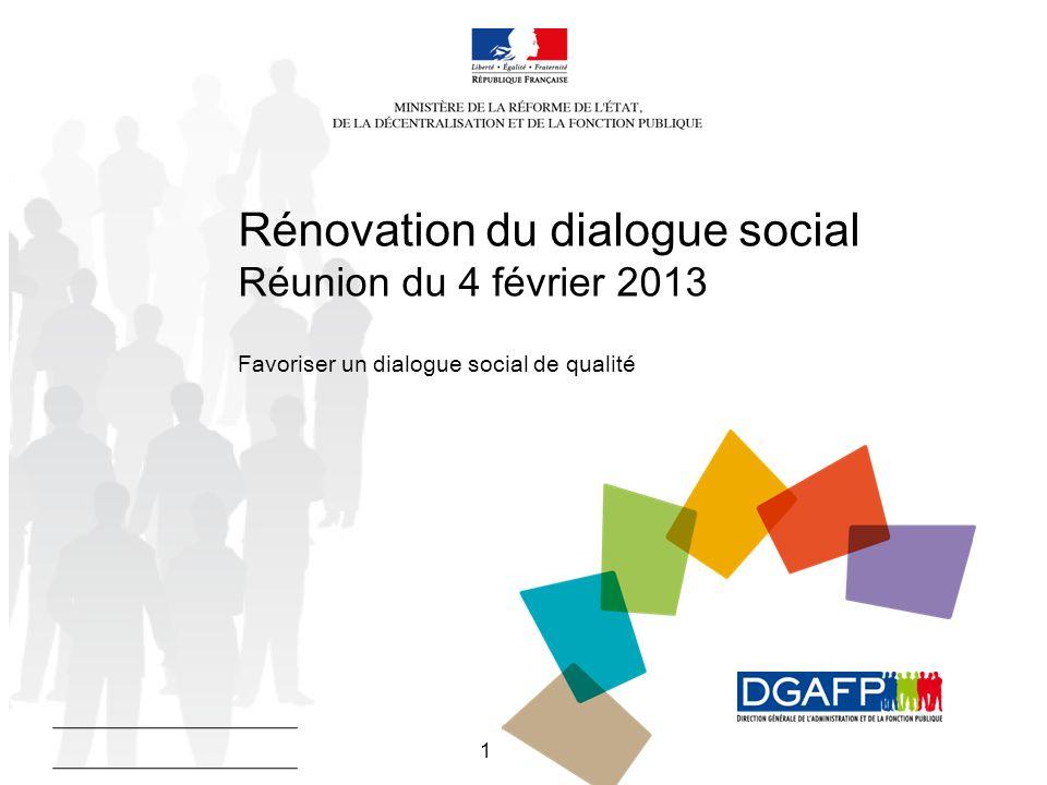 Rénovation du dialogue social Réunion du 4 février 2013