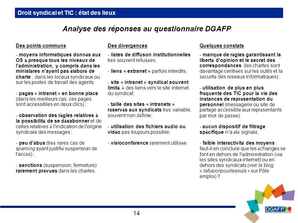 Analyse des réponses au questionnaire DGAFP