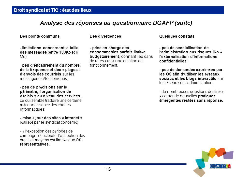 Analyse des réponses au questionnaire DGAFP (suite)