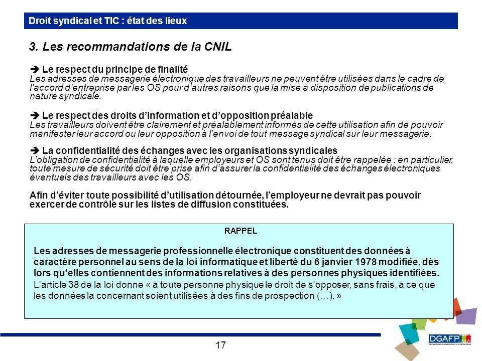 3. Les recommandations de la CNIL