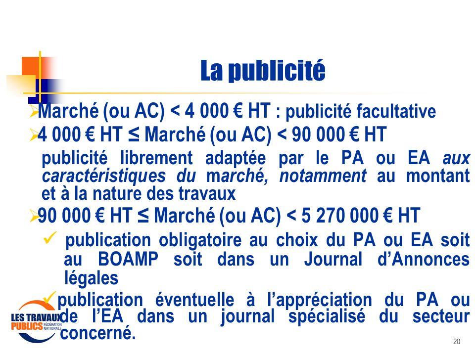 La publicité Marché (ou AC) < 4 000 € HT : publicité facultative