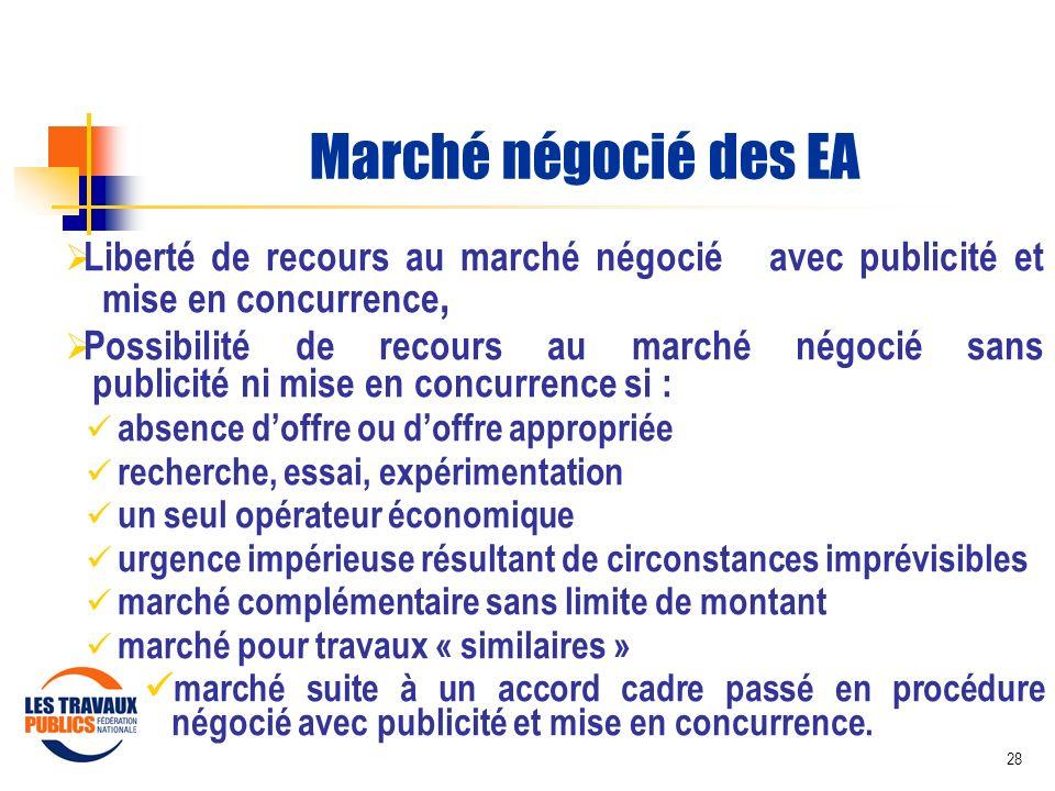Marché négocié des EA Liberté de recours au marché négocié avec publicité et mise en concurrence,