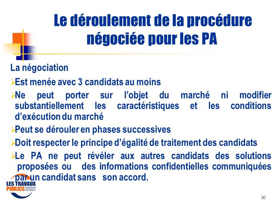 Le déroulement de la procédure négociée pour les PA