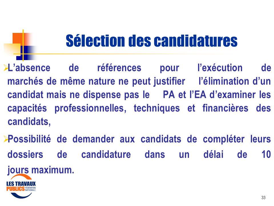 Sélection des candidatures