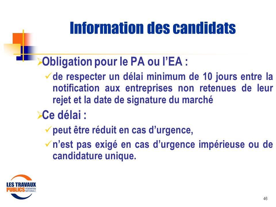 Information des candidats