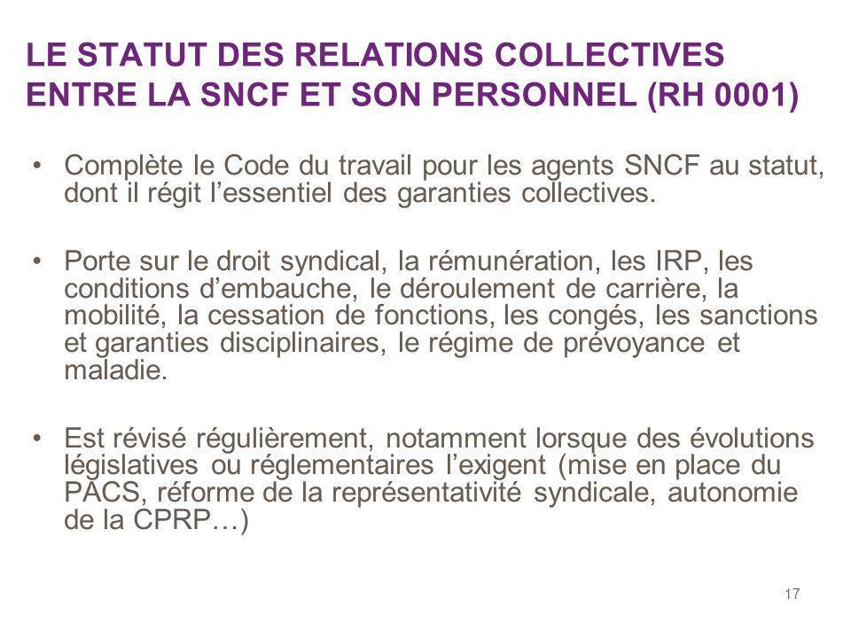 LE STATUT DES RELATIONS COLLECTIVES ENTRE LA SNCF ET SON PERSONNEL (RH 0001)