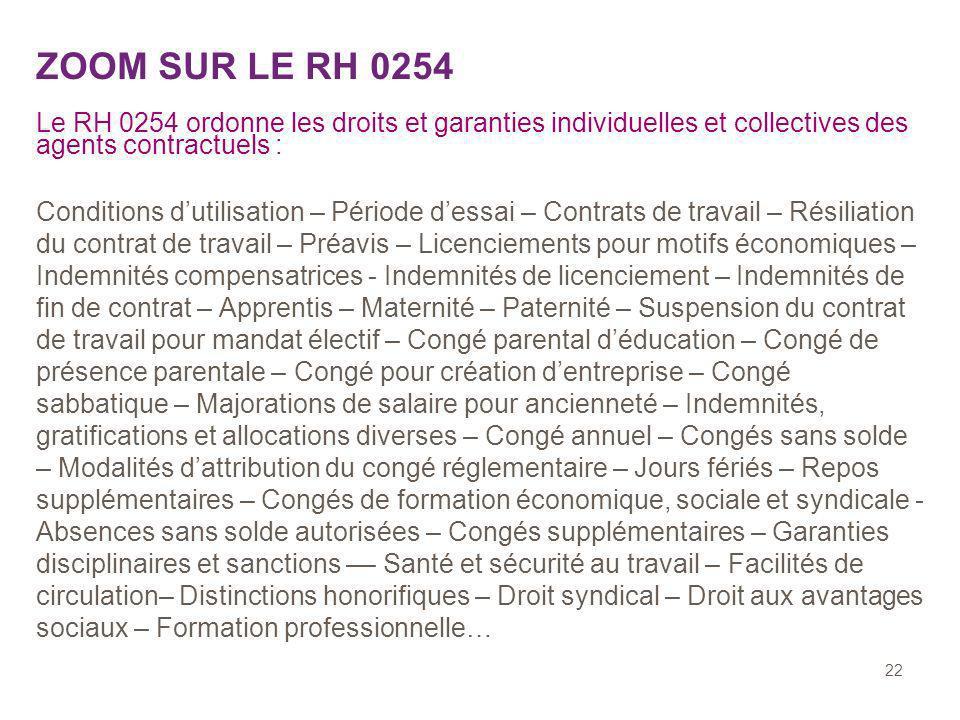 ZOOM SUR LE RH 0254 Le RH 0254 ordonne les droits et garanties individuelles et collectives des agents contractuels :