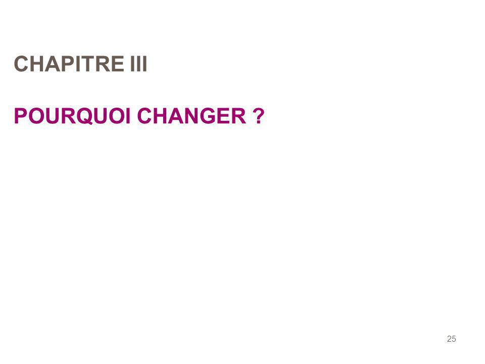 CHAPITRE III POURQUOI CHANGER