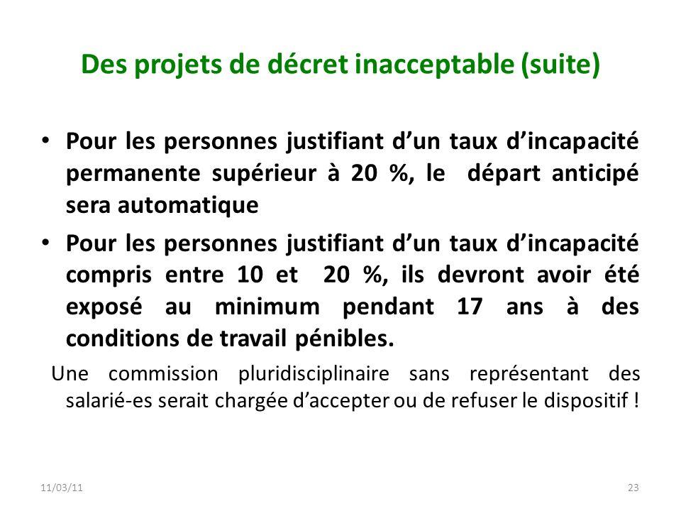 Des projets de décret inacceptable (suite)