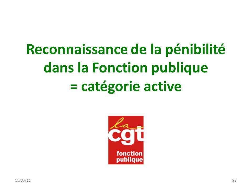 11/03/11 11/03/11. 11/03/11. Reconnaissance de la pénibilité dans la Fonction publique = catégorie active.