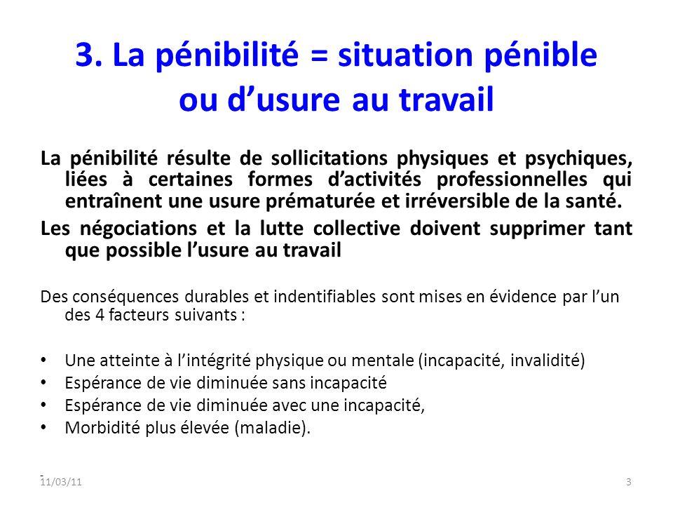3. La pénibilité = situation pénible ou d'usure au travail