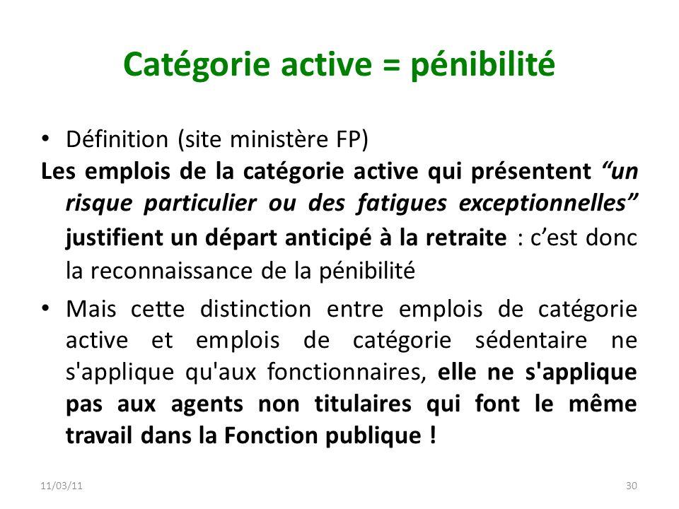Catégorie active = pénibilité