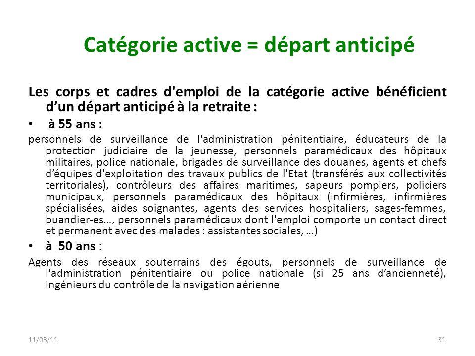 Catégorie active = départ anticipé