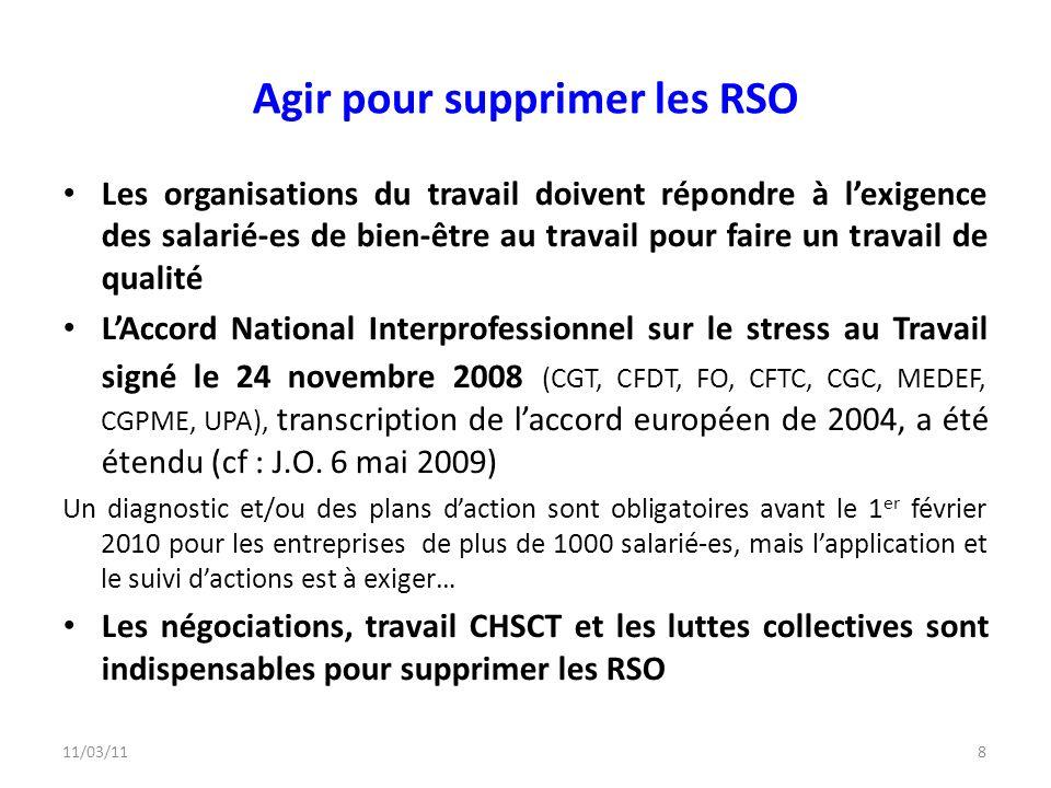 Agir pour supprimer les RSO