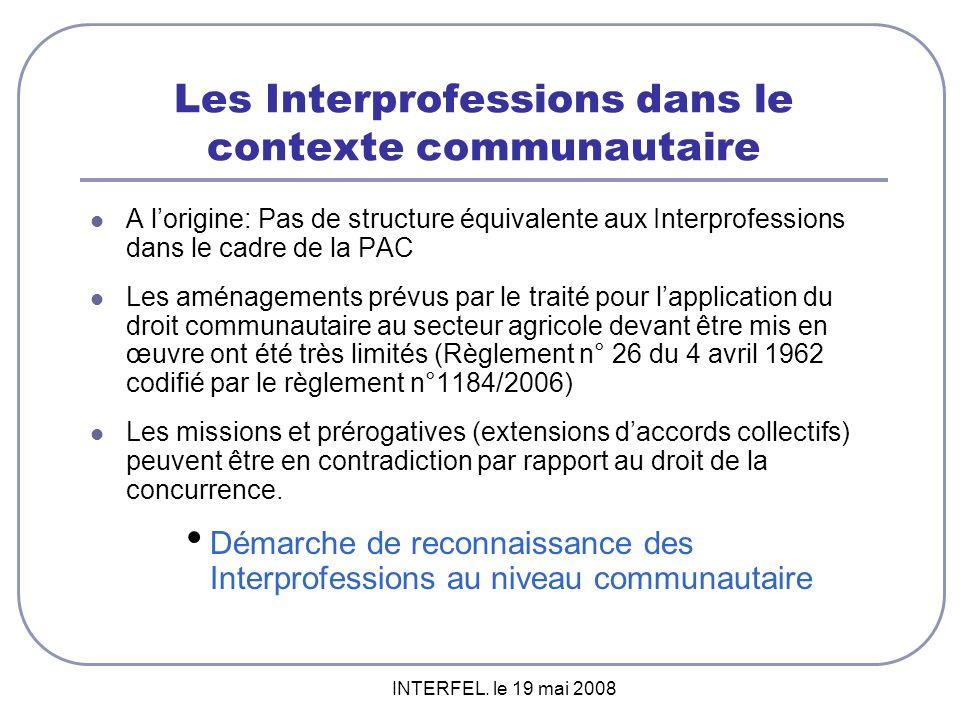 Les Interprofessions dans le contexte communautaire