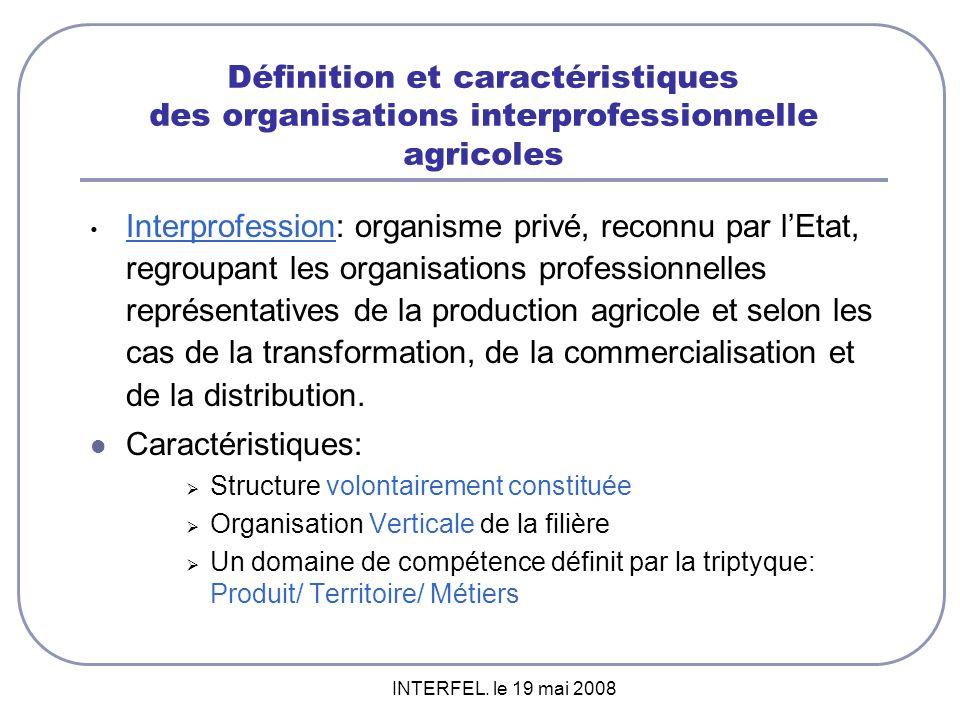 Définition et caractéristiques des organisations interprofessionnelle agricoles