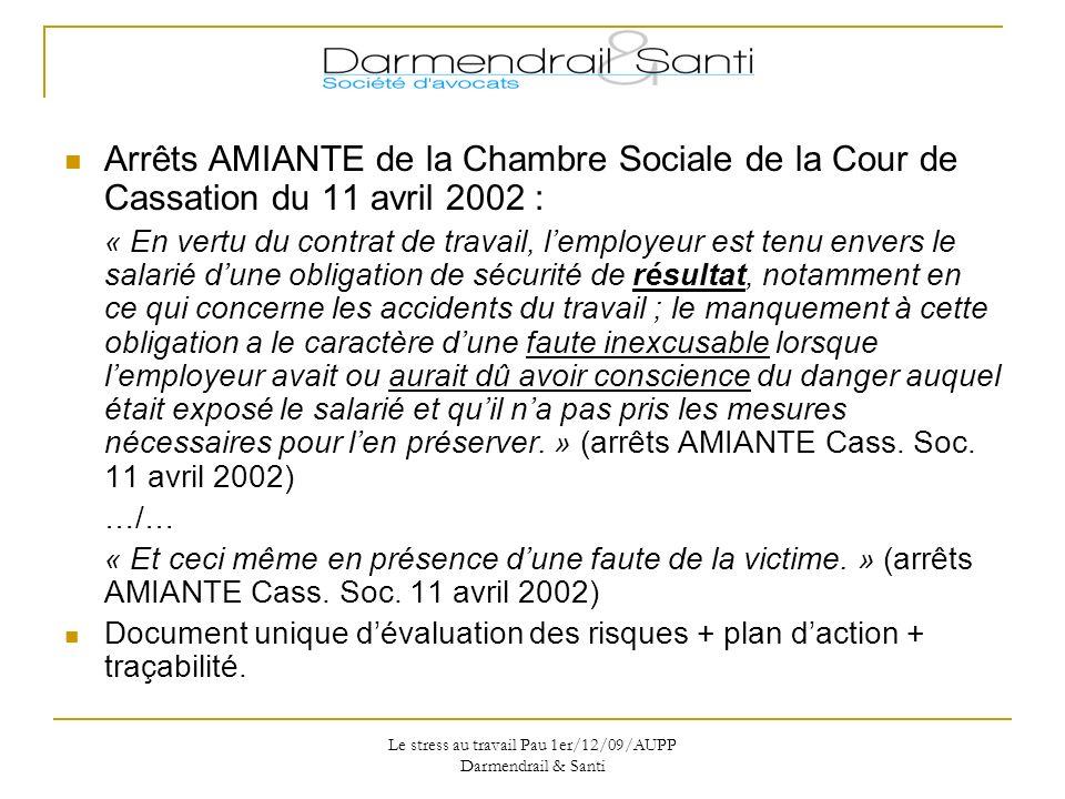 Le stress au travail Pau 1er/12/09/AUPP Darmendrail & Santi
