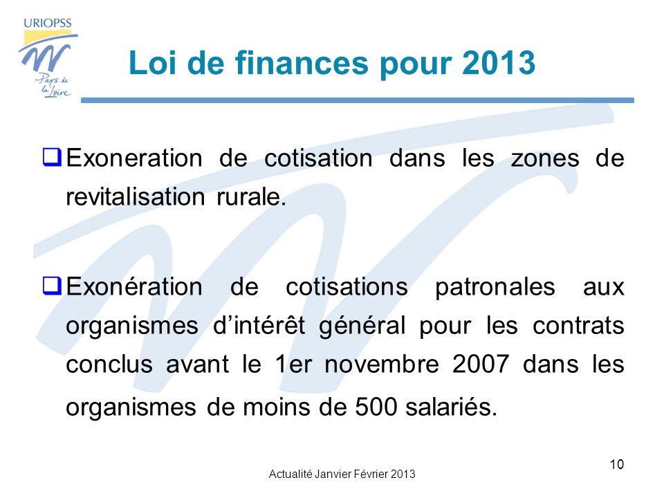 Loi de finances pour 2013 Exoneration de cotisation dans les zones de revitalisation rurale.