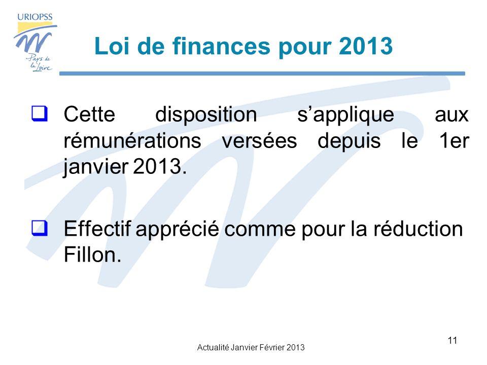 Loi de finances pour 2013 Cette disposition s'applique aux rémunérations versées depuis le 1er janvier 2013.