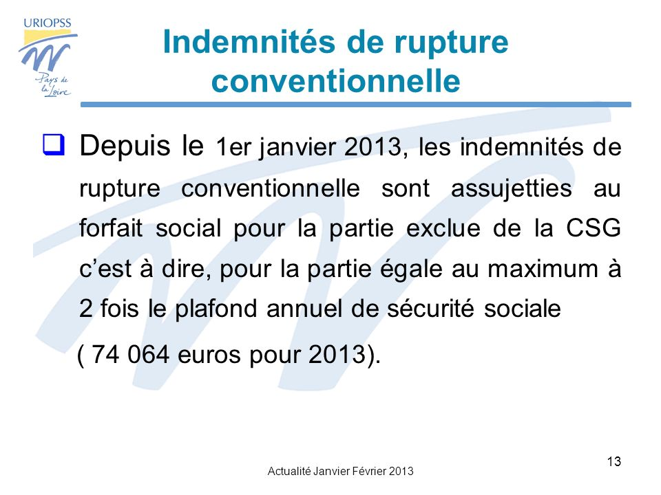 Indemnités de rupture conventionnelle