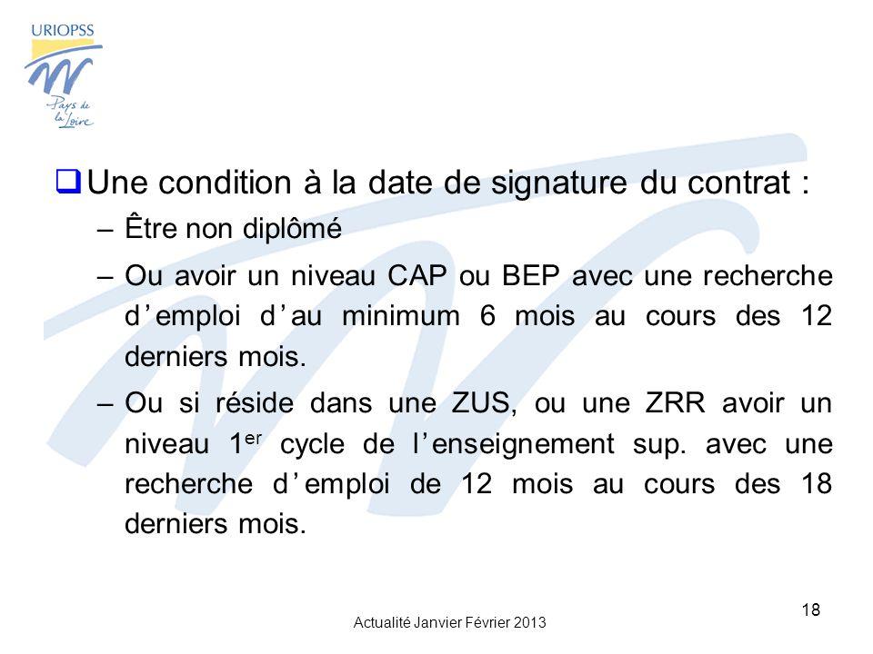 Une condition à la date de signature du contrat :