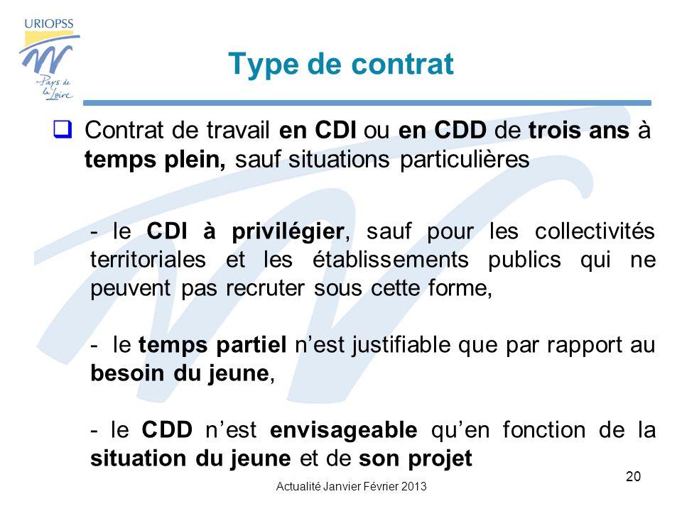 Type de contrat Contrat de travail en CDI ou en CDD de trois ans à temps plein, sauf situations particulières.