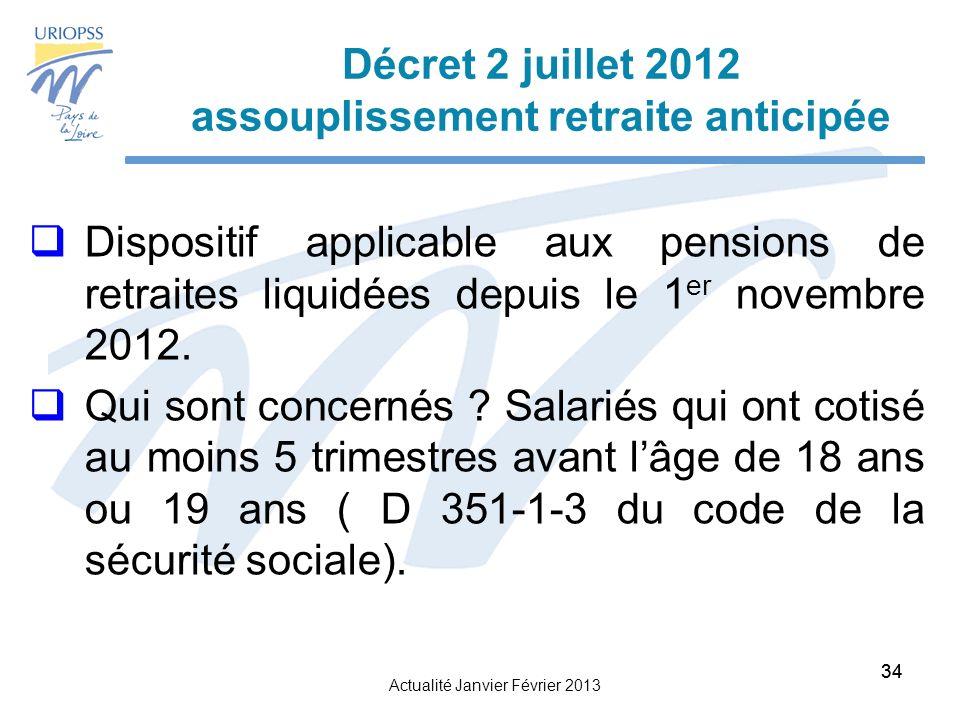 Décret 2 juillet 2012 assouplissement retraite anticipée