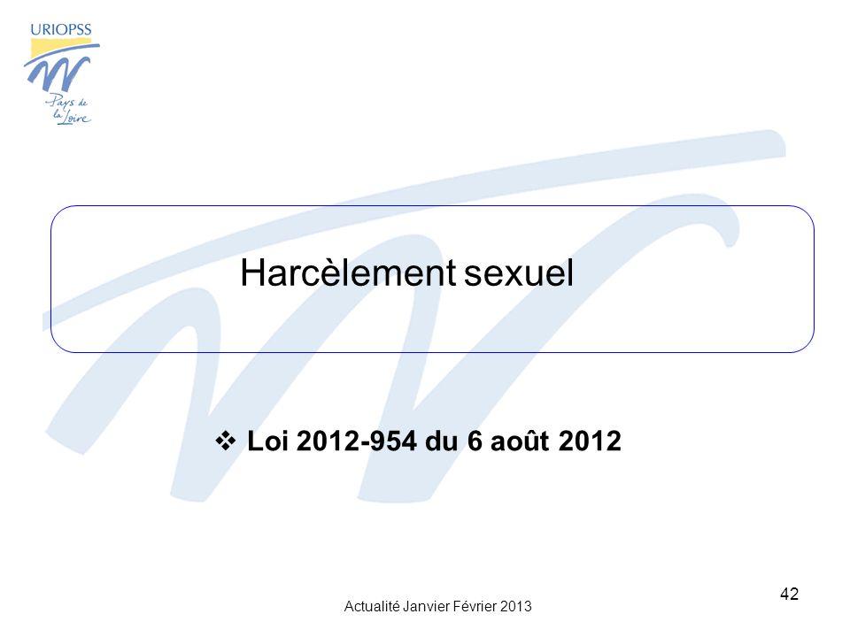 Harcèlement sexuel Loi 2012-954 du 6 août 2012