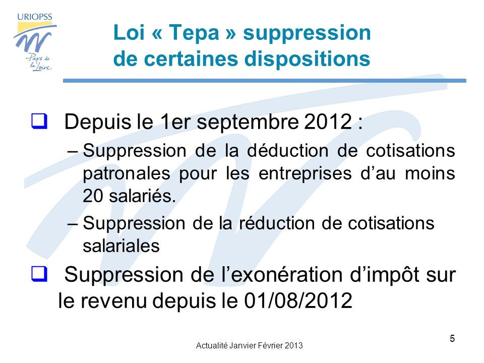Loi « Tepa » suppression de certaines dispositions