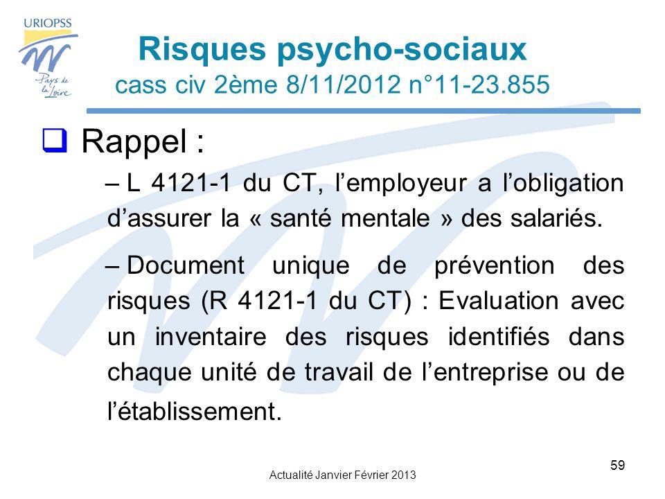 Risques psycho-sociaux cass civ 2ème 8/11/2012 n°11-23.855