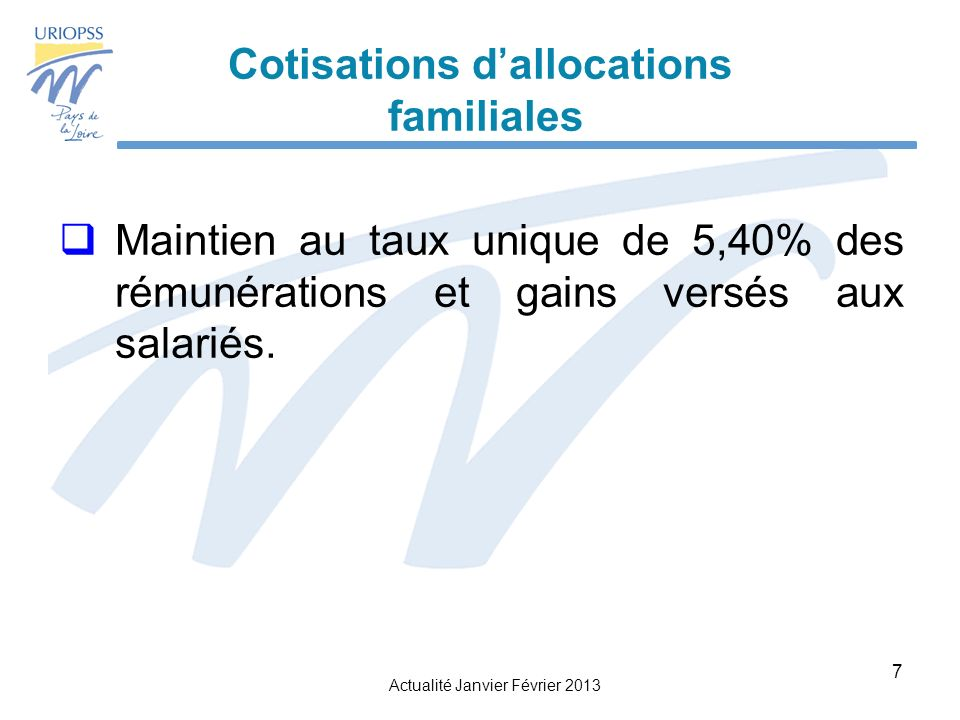 Cotisations d'allocations familiales