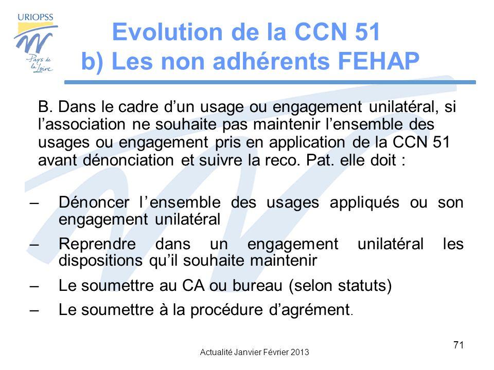 Evolution de la CCN 51 b) Les non adhérents FEHAP