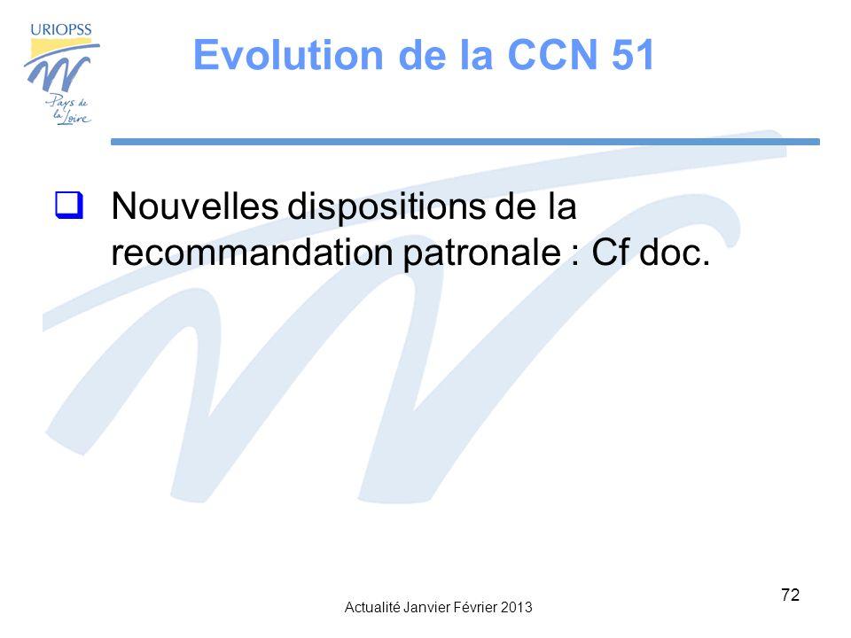Evolution de la CCN 51 Nouvelles dispositions de la recommandation patronale : Cf doc.