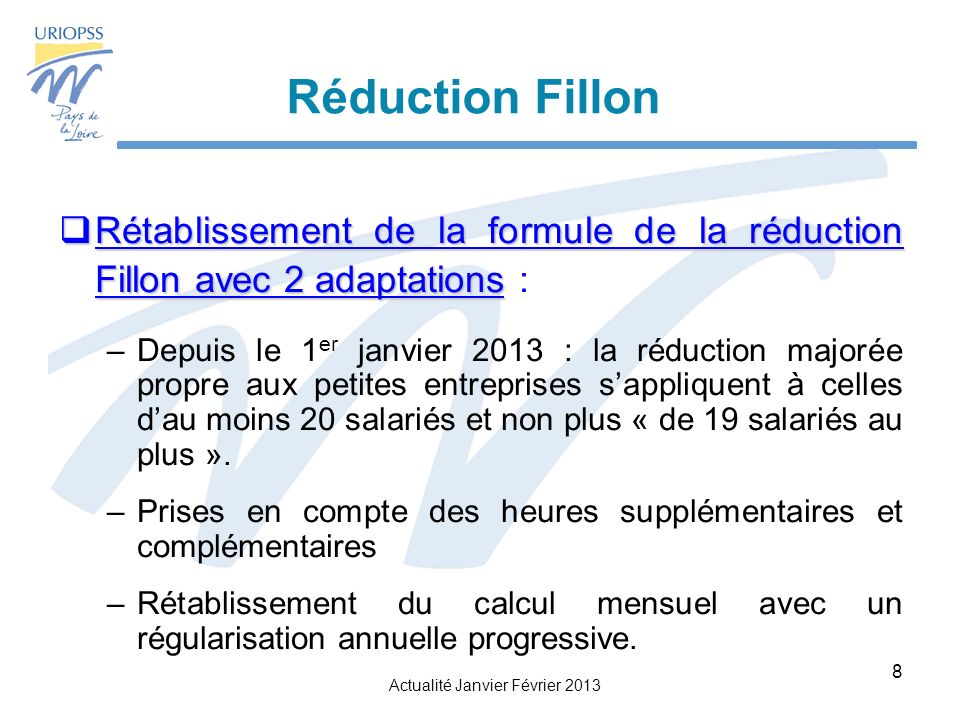 Réduction Fillon Rétablissement de la formule de la réduction Fillon avec 2 adaptations :