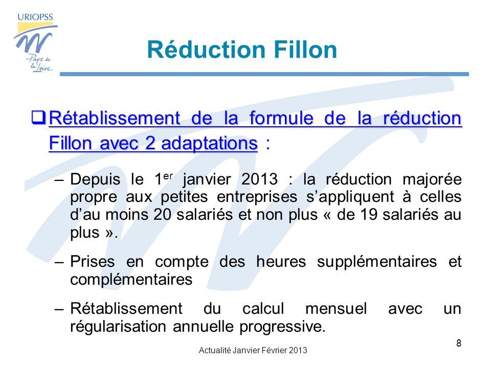 Réduction Fillon Rétablissement de la formule de la réduction Fillon avec 2 adaptations :