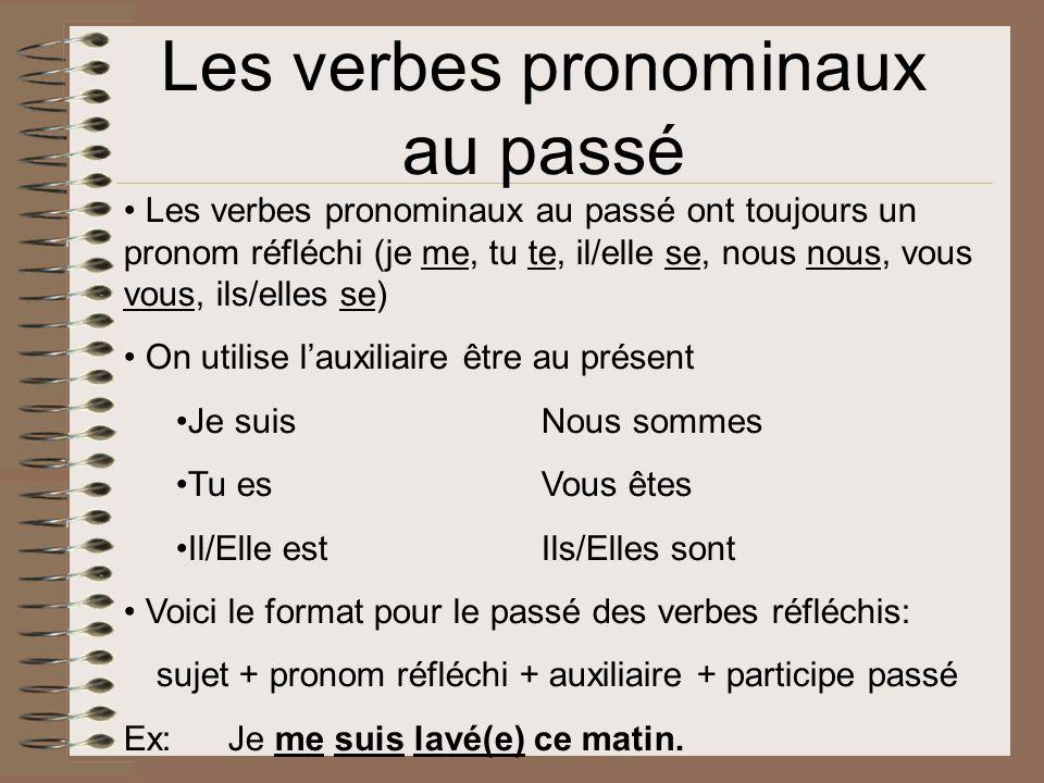 Les verbes pronominaux au passé
