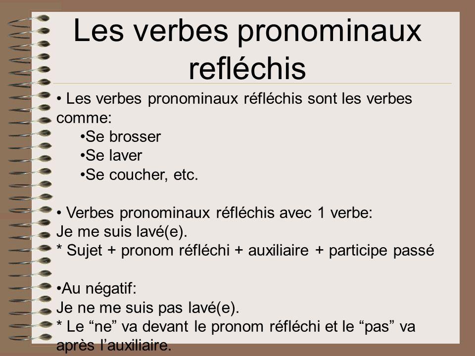 Les verbes pronominaux refléchis