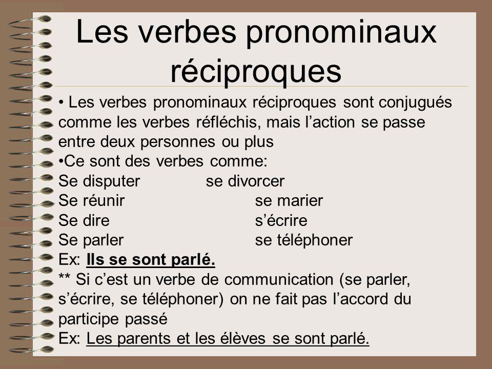 Les verbes pronominaux réciproques