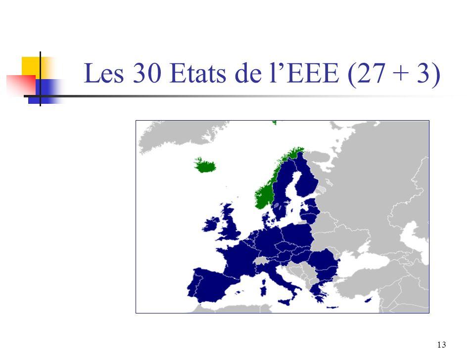 Les 30 Etats de l'EEE (27 + 3)