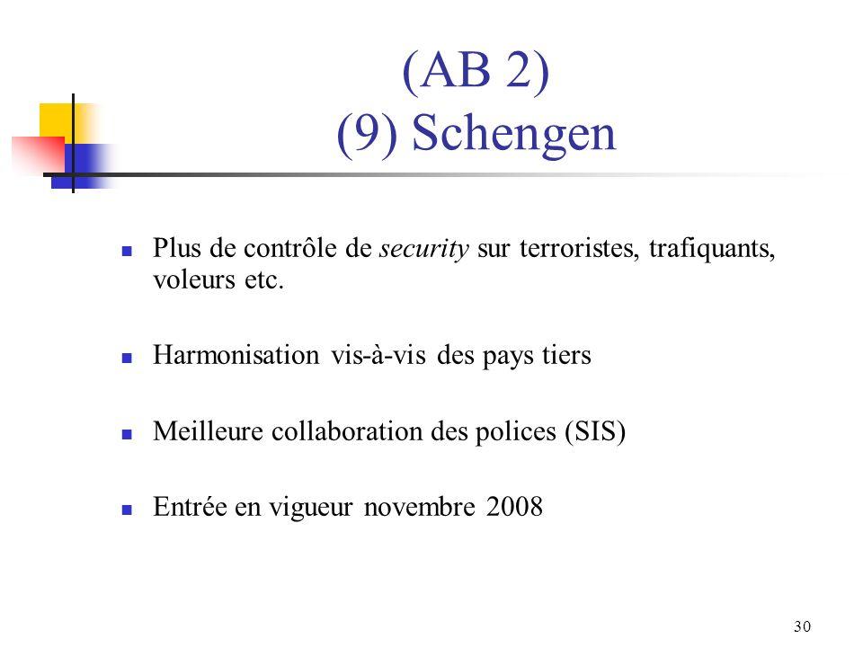(AB 2) (9) Schengen Plus de contrôle de security sur terroristes, trafiquants, voleurs etc. Harmonisation vis-à-vis des pays tiers.