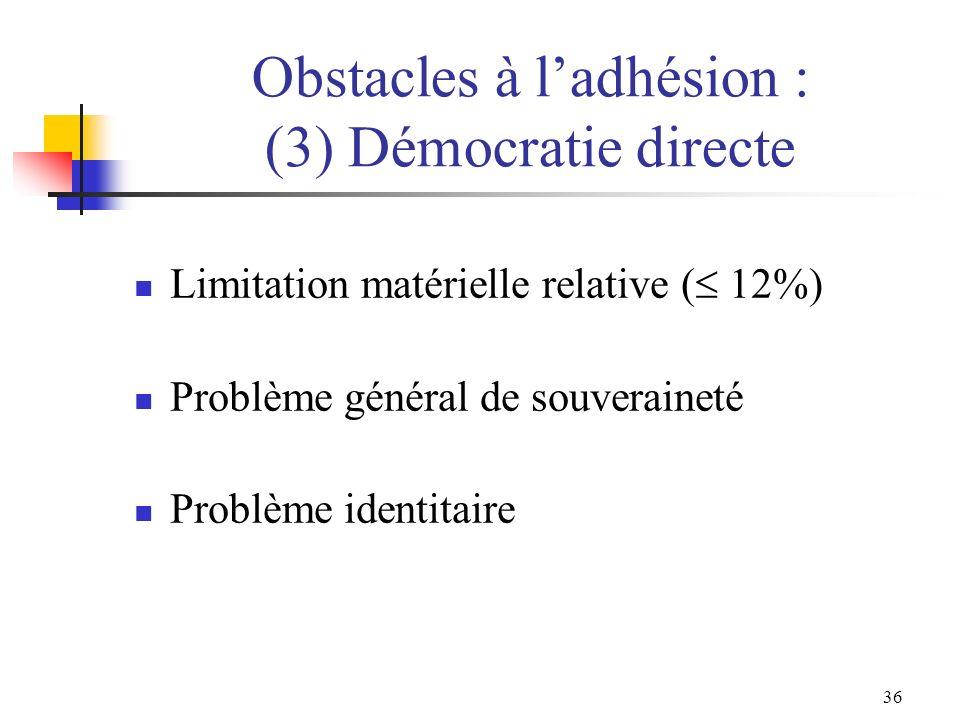 Obstacles à l'adhésion : (3) Démocratie directe
